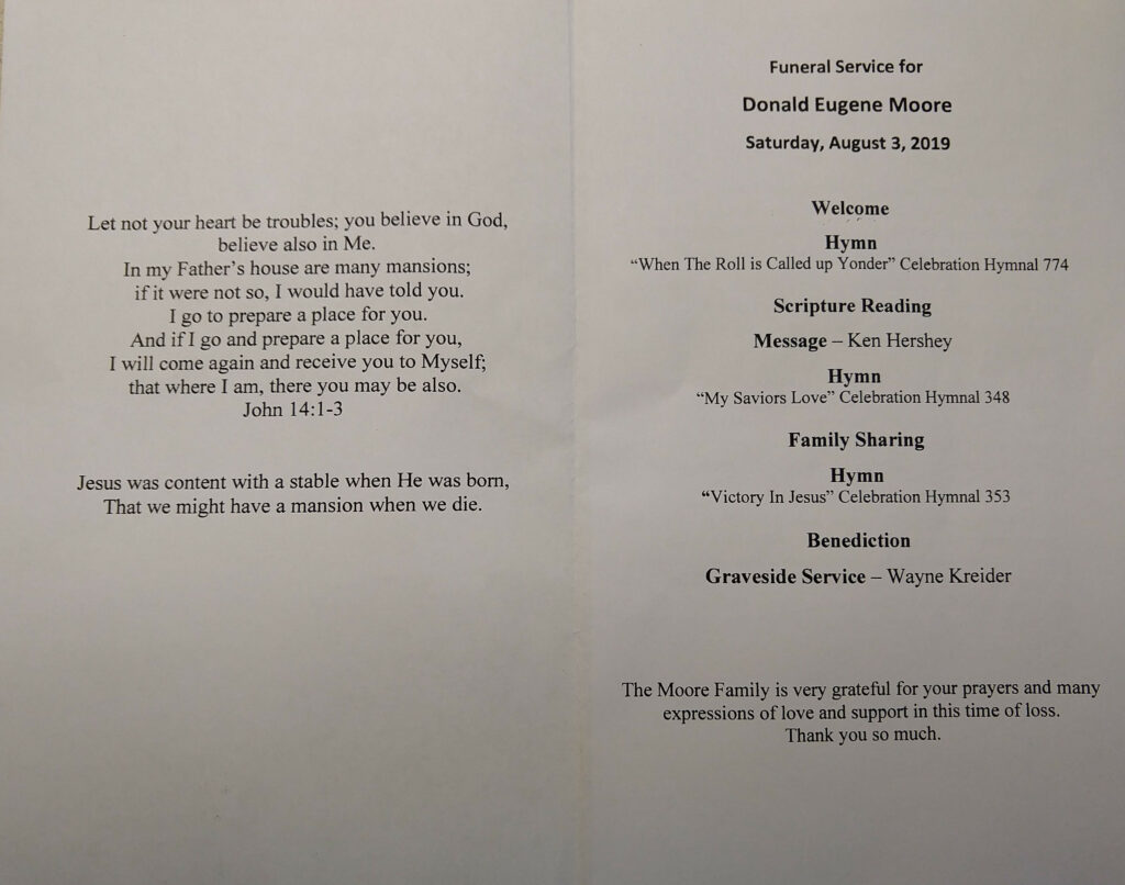 August 3, 2019 – Donald Moore Funeral Service – Mechanic